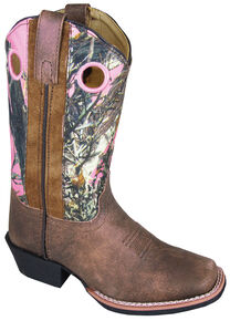 Smoky Mountain Girls' Mesa Camo Western Boots - Square Toe, Brown, hi-res