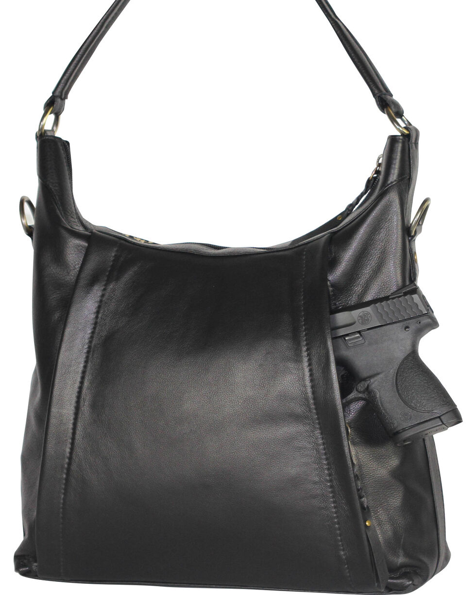 Designer Concealed Carry Black Sonoma Hobo Handbag, Black, hi-res