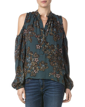 Miss Me Women's Sweet Talk Floral Print Cold Shoulder Top, Teal, hi-res