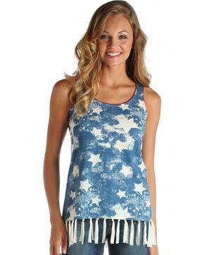 Wrangler Women's Navy Stars & Fringe Hem Top , Navy, hi-res