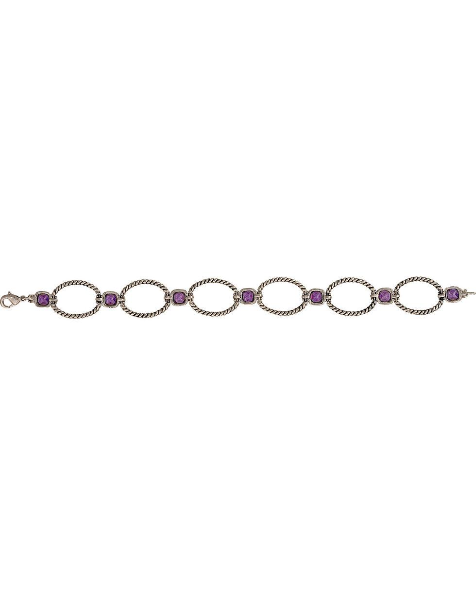 Montana Silversmiths River Lights Purple Stones Rope Link Bracelet, Antique Silver, hi-res