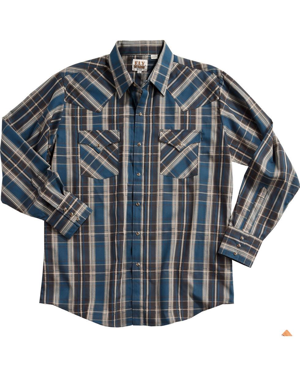 Ely Cattleman Men's Blue Textured Plaid Long Sleeve Snap Shirt, Teal, hi-res