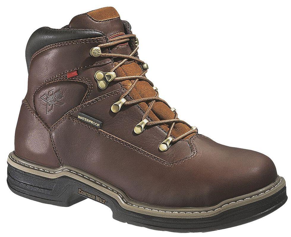 """Wolverine Buccaneer 6"""" Waterproof Lace-Up Work Boots - Round Toe, Dark Brown, hi-res"""