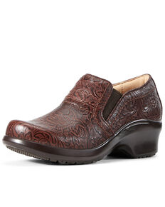 Ariat Women's Expert Tooled Clog Shoes, Brown, hi-res