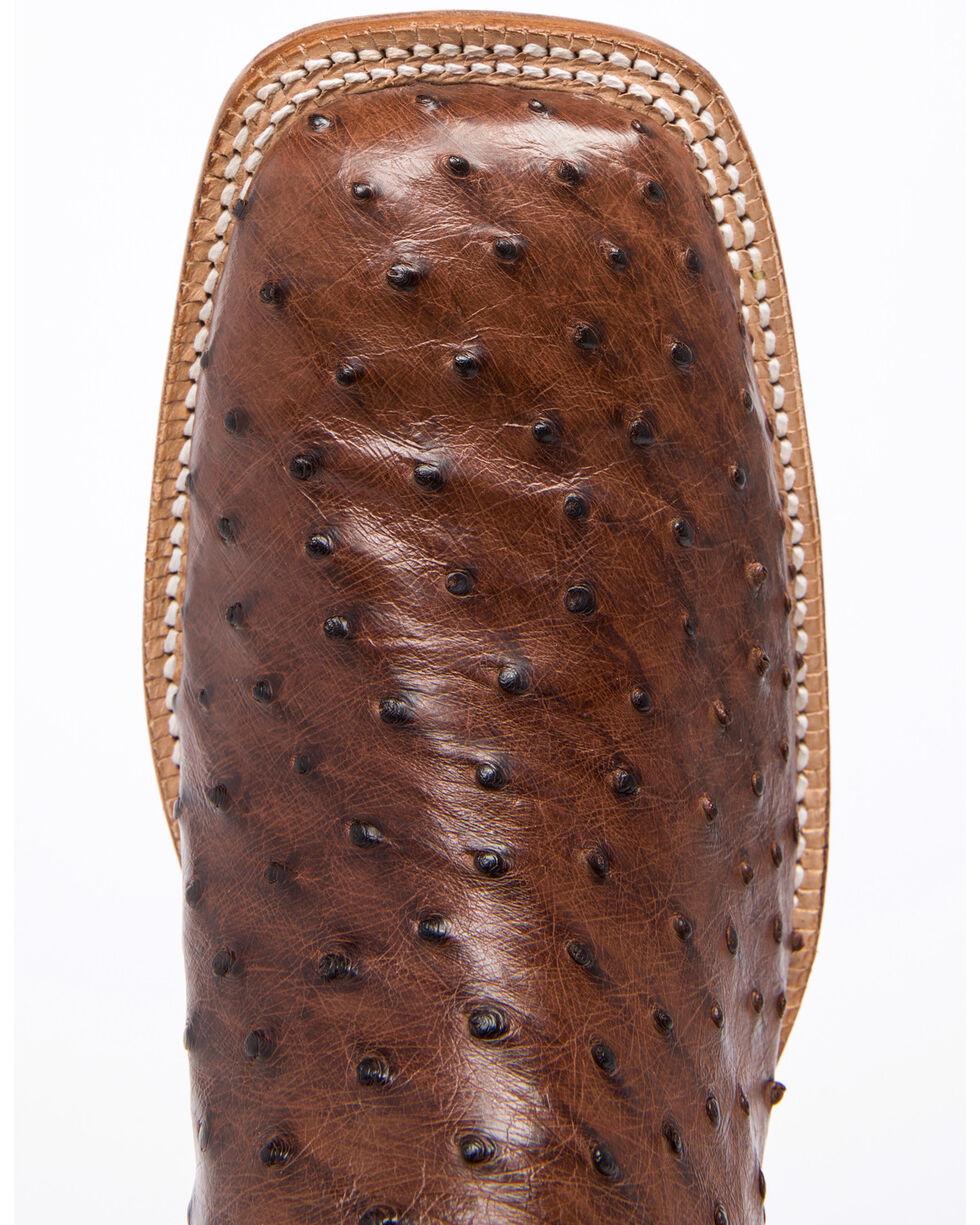 Tony Lama Men's Dark Brown/British Tan Full Quill Ostrich Cowboy Boots - Square Toe, Dark Brown, hi-res