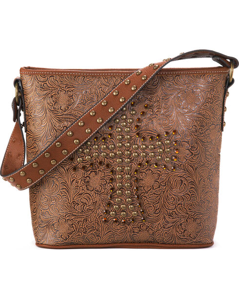 Blazin Roxx Women's Nina Studded Cross Shoulder Bag, Tan, hi-res
