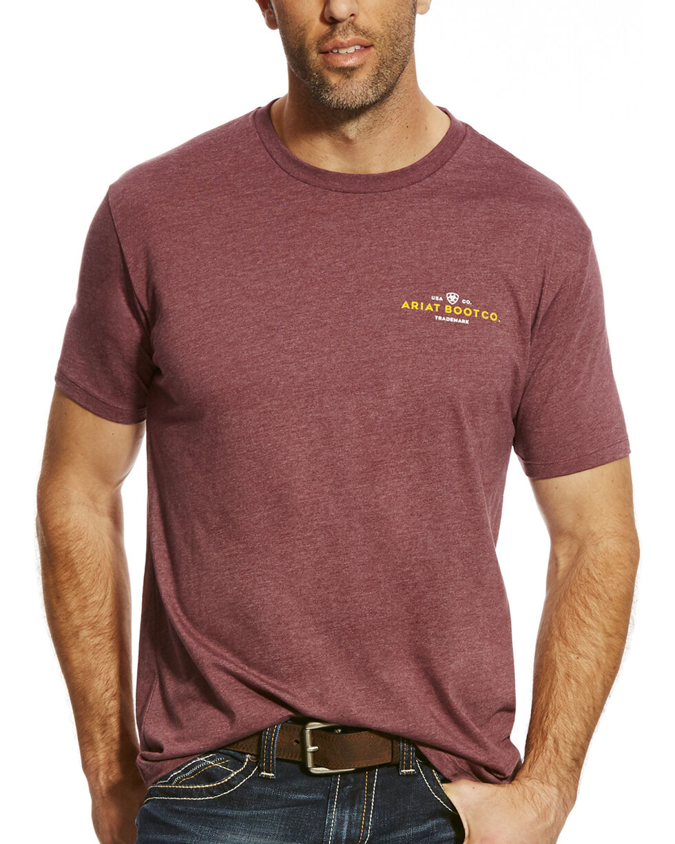 Ariat Men's Burgundy Union City Tee , Burgundy, hi-res