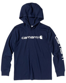 Carhartt Boys' Navy Logo Sleeve Logo Hooded Sweatshirt , Navy, hi-res