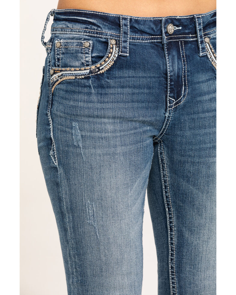Grace in LA Women's Medium Vintage Swirl Bootcut Jeans, Blue, hi-res