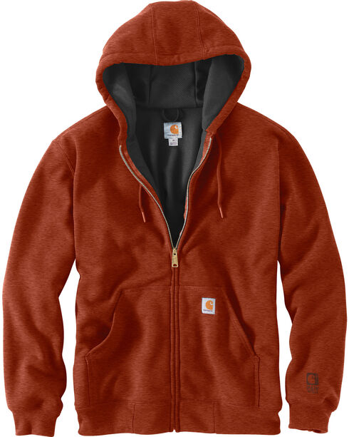 Carhartt Men's Rain Defender Rutland Thermal-Lined Zip-Front Sweatshirt , Dark Orange, hi-res