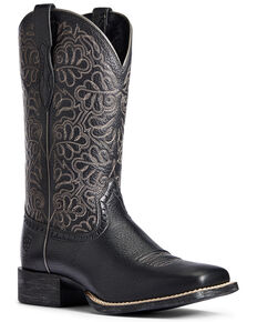 Ariat Women's Round Up Remuda Western Boots - Wide Square Toe, Black, hi-res