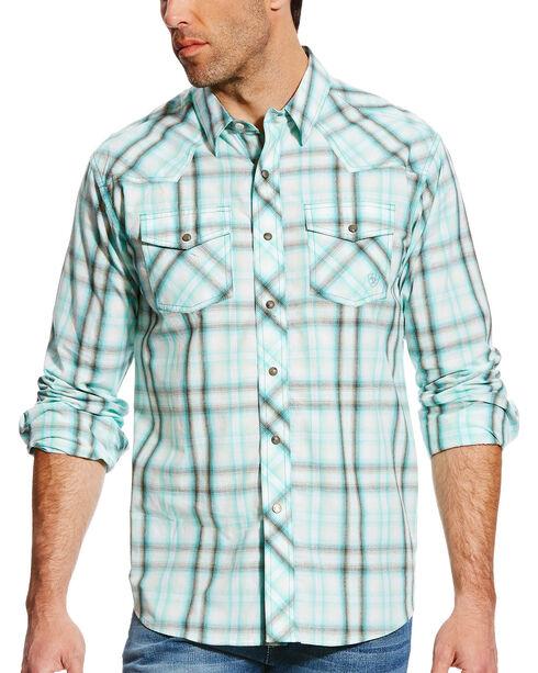 Ariat Men's Turquoise Irvan Retro Long Sleeve Shirt , Turquoise, hi-res