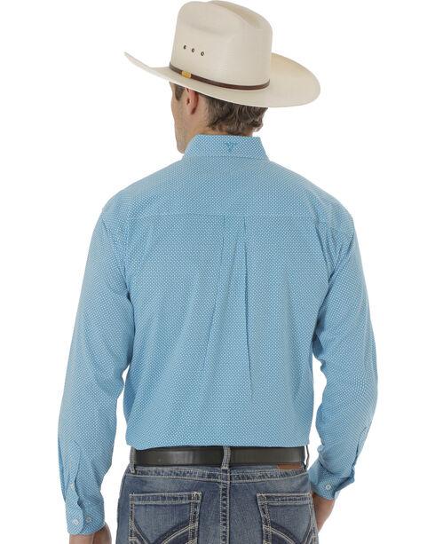 Wrangler Men's Turquoise Poplin Print 20X Western Shirt , Blue, hi-res