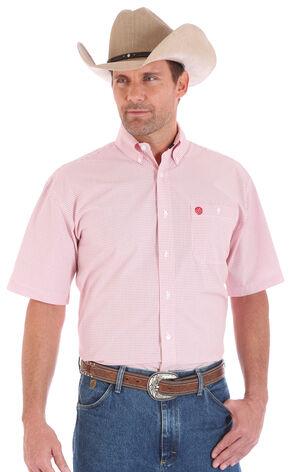 Wrangler George Strait Men's Short Sleeve Checkered Button Shirt, White, hi-res