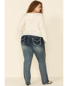 Grace in LA Women's Faux Flap Straight Leg Jeans - Plus, Blue, hi-res