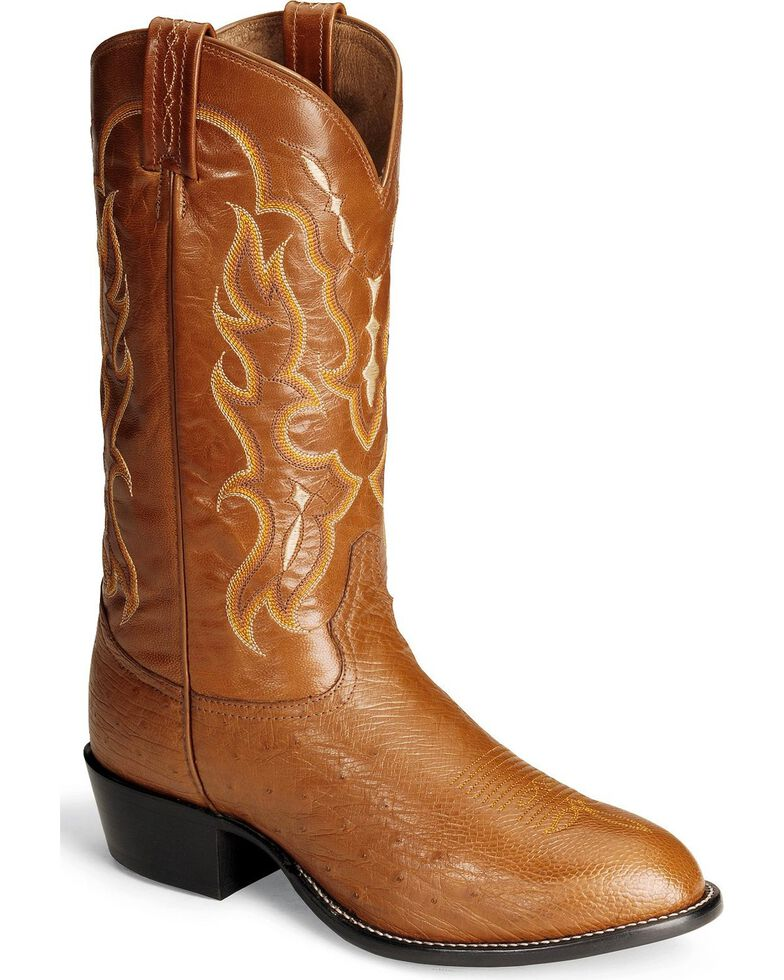 Tony Lama Smooth Ostrich Western Boots - Medium Toe, Peanut Brittle, hi-res