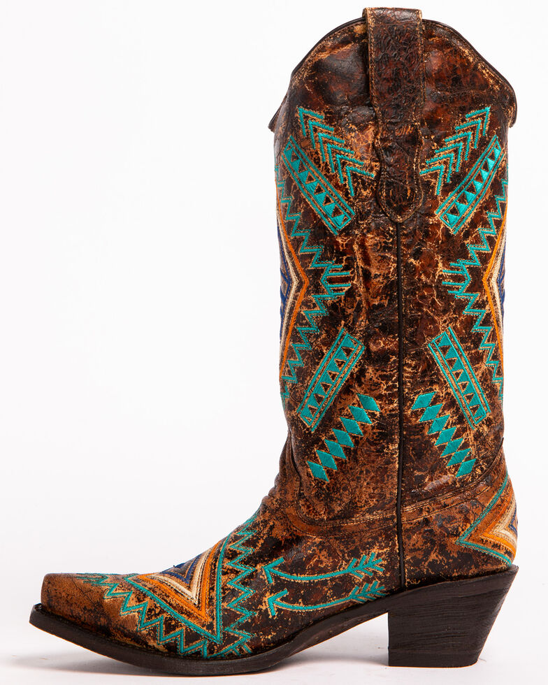 Corral Women's Turquoise Diamond Cowgirl Boots - Snip Toe, , hi-res