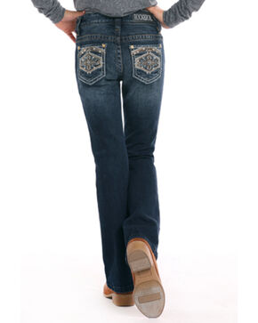 Rock & Roll Cowgirl Girls' Diamond Shaped Stitch Bootcut Jeans, Indigo, hi-res