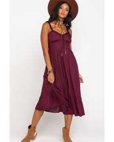 Patrons of Peace Women's Solid Button Front Midi Dress, Burgundy, hi-res