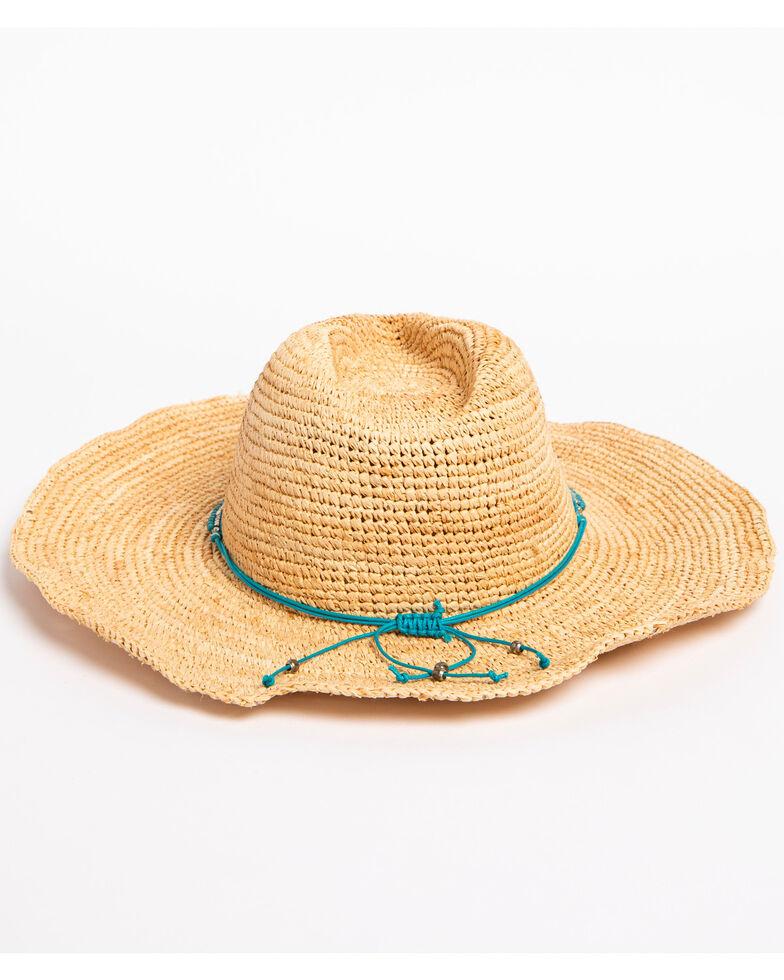 ále by Alessandra Women's Cody Beaded Band Crochet Raffia Hat, Turquoise, hi-res