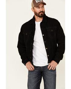 Stetson Men's Distressed Black Leather Lined Snap-Front Jean Jacket , Black, hi-res