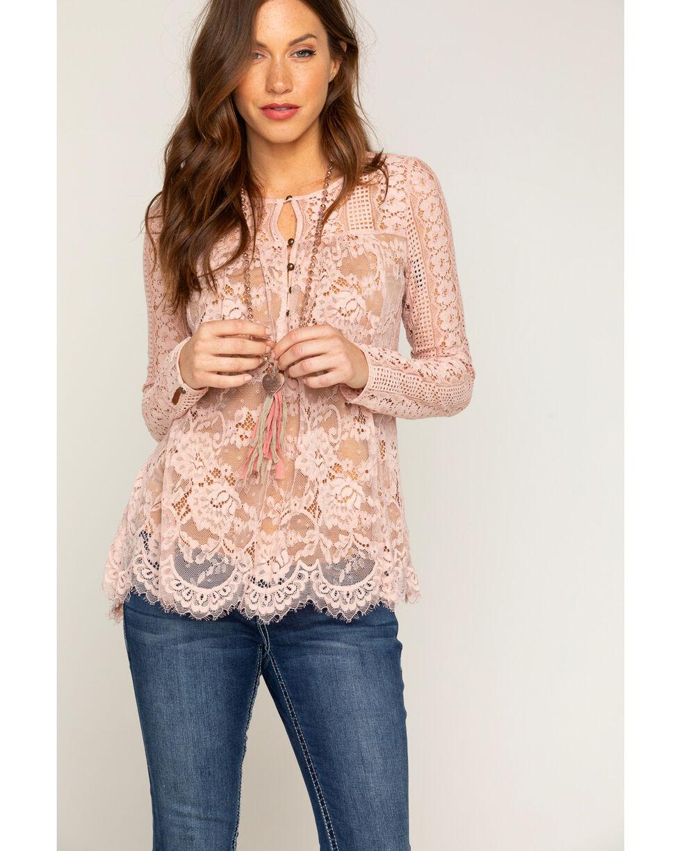 Shyanne Women's Lace Long Sleeve Peasant Top, Light/pastel Pink, hi-res