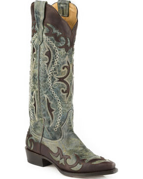 Stetson Women's Vivi Wingtip with Underlays Western Boots - Snip Toe , Brown, hi-res