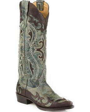 Stetson Women's Vivi Wingtip with Underlays Western Boots - Snip Toe , Brown, hi-res