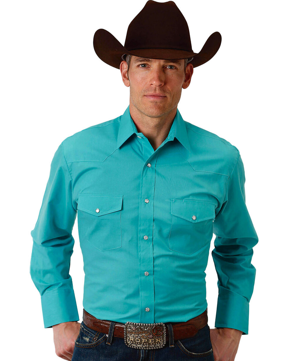 Roper Men's Teal Solid Broadcloth Long Sleeve Shirt , Teal, hi-res