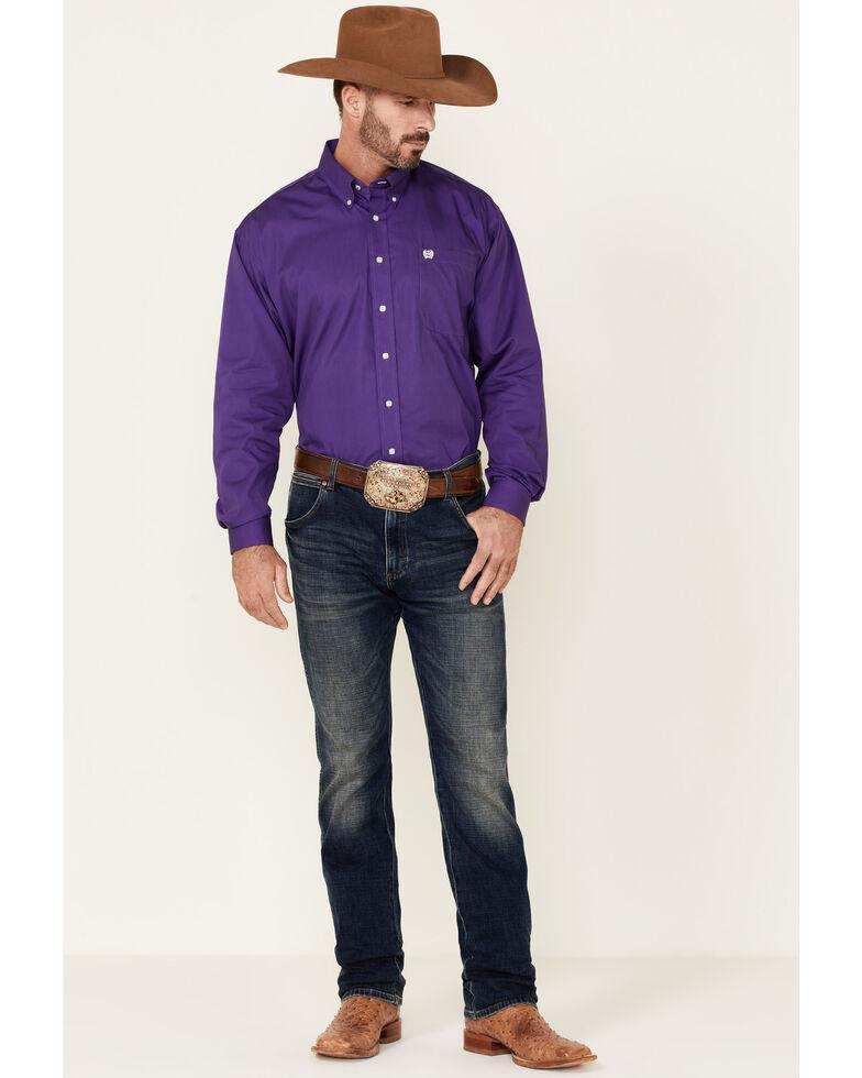 Cinch Men's Solid Purple Button-Down Long Sleeve Western Shirt, Purple, hi-res