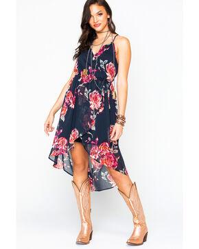 Shyanne Women's Floral Chiffon Hi-Low Dress , Black, hi-res
