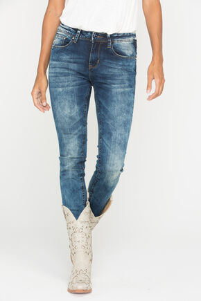 Grace in LA Women's Medium Wash Skinny Jeans, Indigo, hi-res