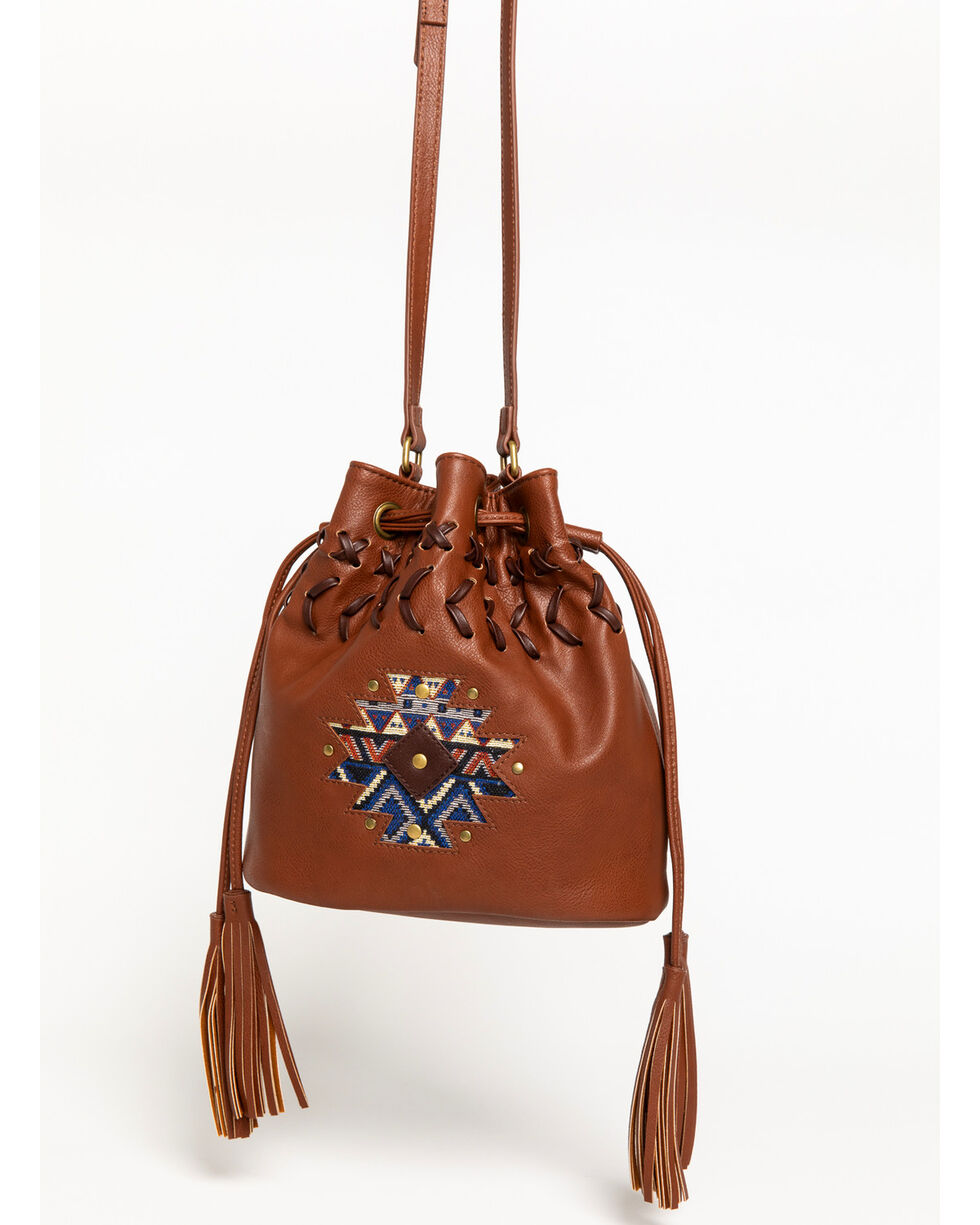 Shyanne Women's Aztec Inlay Bucket Bag, Brown, hi-res