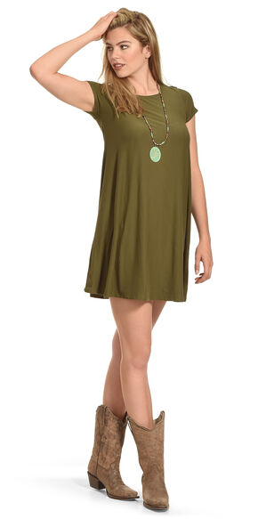 Derek Heart Women's Yara's Yummy Trapeze Olive Dress , Olive, hi-res