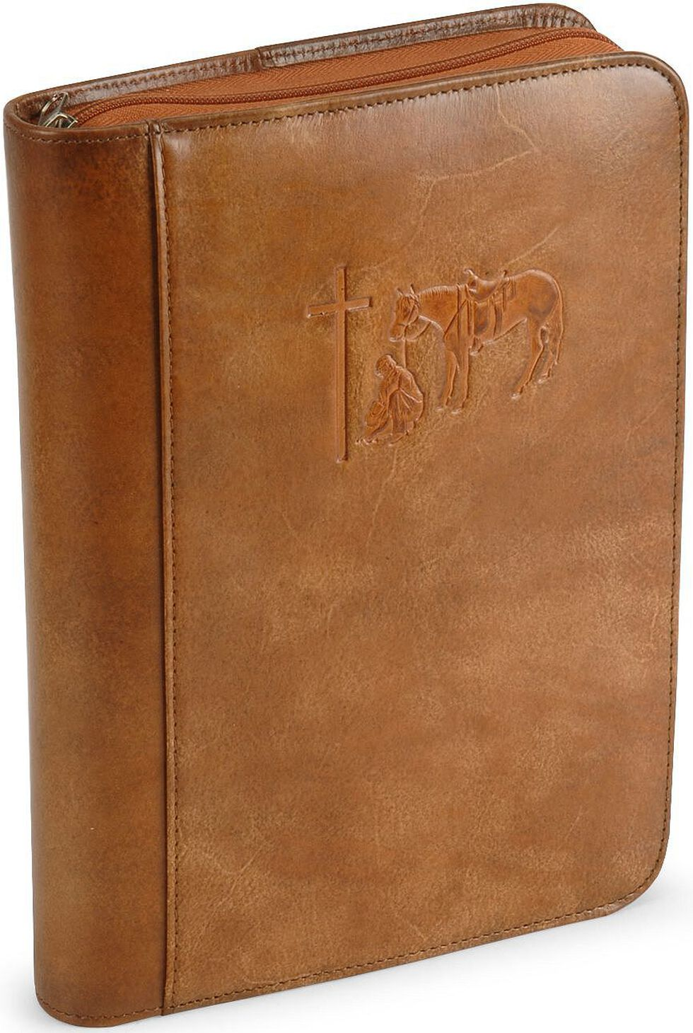 Cowboy Prayer Leather Bible Cover, Brown, hi-res