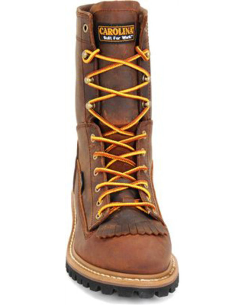Carolina Men's Brown Waterproof Lace-to-Toe Logger Boots - Steel Toe, Brown, hi-res
