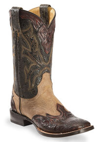 Stetson Two-Tone Hand Tooled Wingtip Cowgirl Boots - Square Toe, Brown, hi-res
