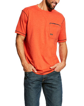 Ariat Men's Volcanic Heather Rebar Short Sleeve Work T-Shirt - Tall , Orange, hi-res
