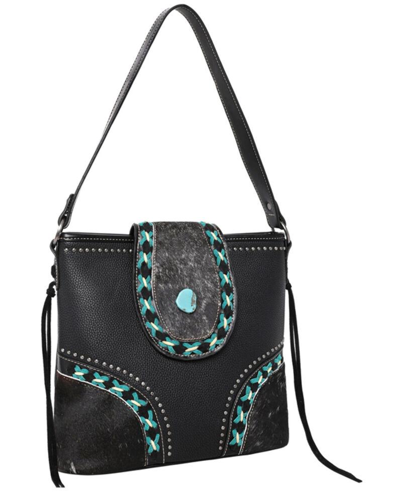 Montana West Women's Cowhide Hobo Bag, Black, hi-res