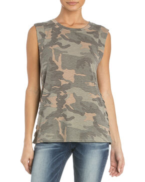 Miss Me Women's At Ease Muscle Tee, Camouflage, hi-res