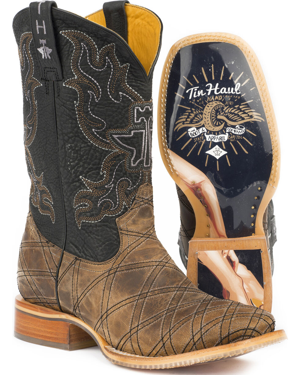 Tin Haul Men's What's Your Angle Cowboy Boots - Square Toe, Tan, hi-res