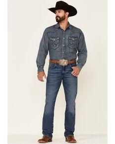 Wrangler Retro Premium Men's Haze Medium Wash Stretch Slim Bootcut Jeans , Blue, hi-res