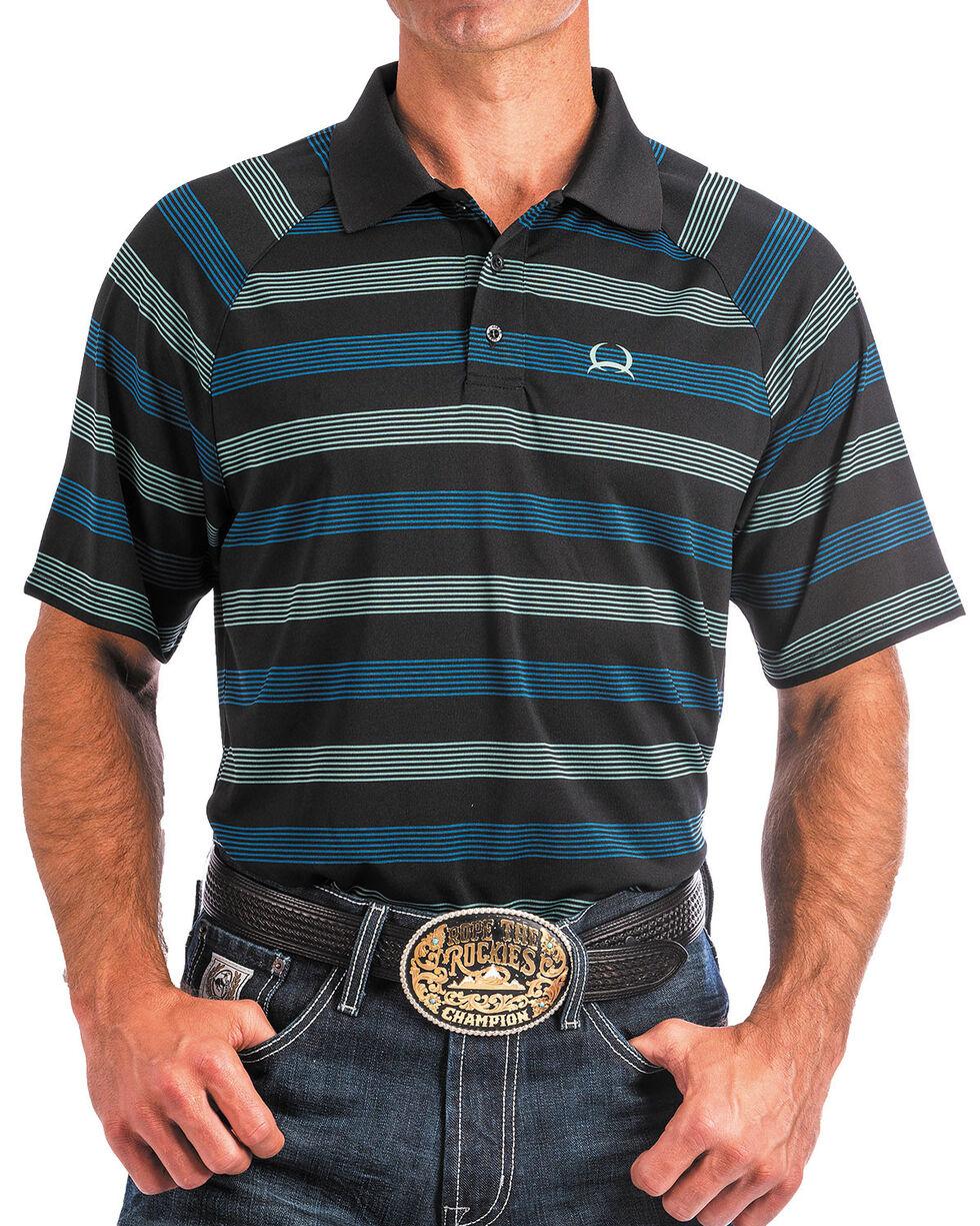 Cinch Men's ArenaFlex Striped Raglan Sleeve Tech Polo , Black, hi-res
