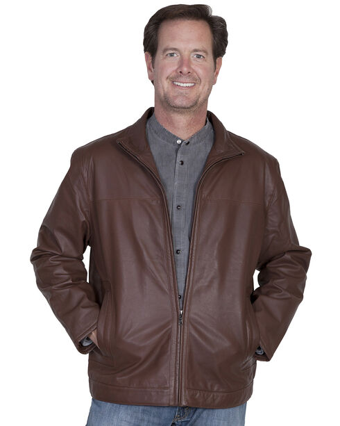 Scully Premium Lambskin Zip Front Jacket, Dark Brown, hi-res