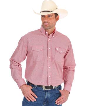 Wrangler Men's George Strait Red Diamond Print Shirt - Tall , Red, hi-res