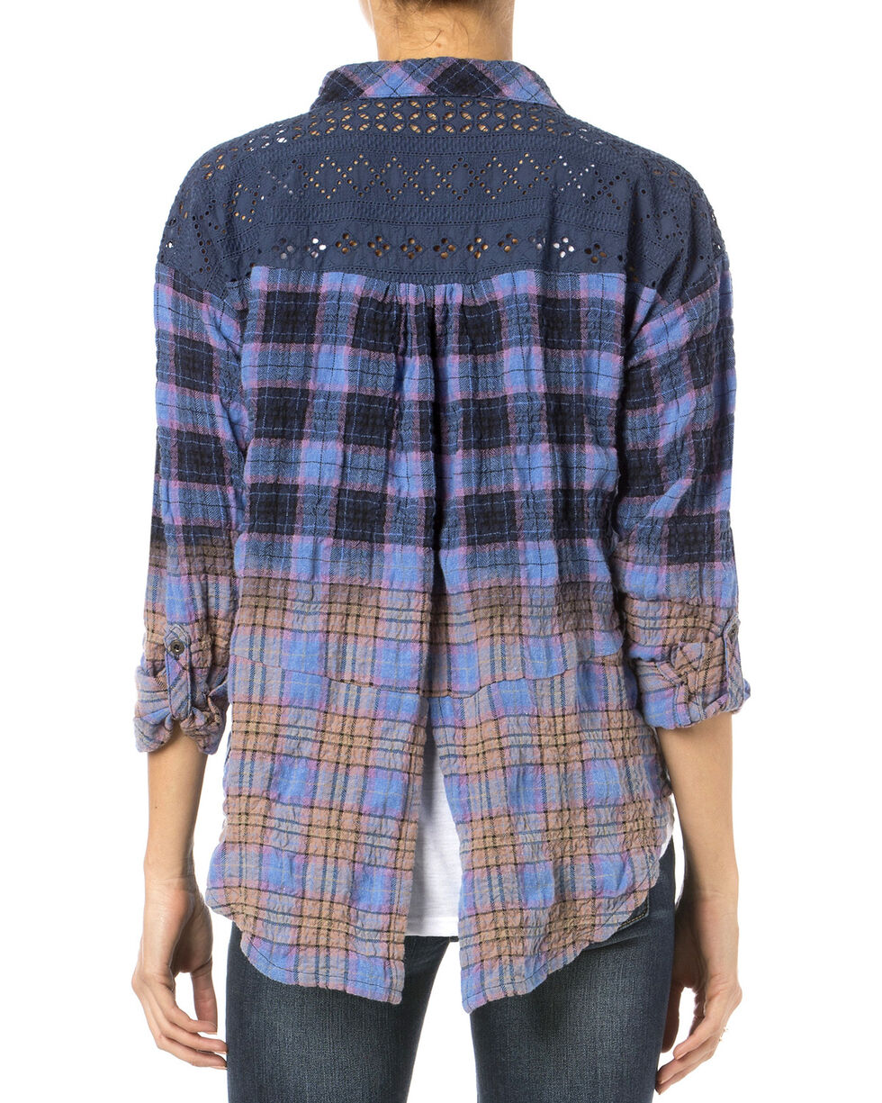 Miss Me Blue Plaid Wrinkle Crochet Down Shirt , Blue, hi-res