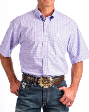 Cinch Men's Light Purple Plaid Short Sleeve Button Down Shirt, Light Purple, hi-res