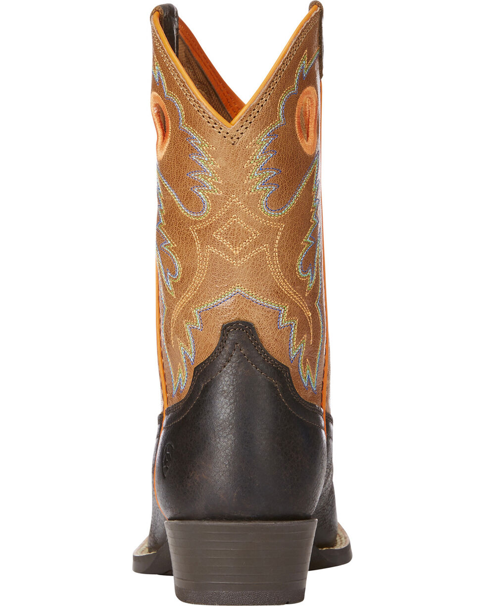 Ariat Boys' Brown Heritage Roughstock Cowboy Boots - Square Toe , Dark Brown, hi-res