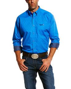 Ariat Men's Tough Geo Print Long Sleeve Western Shirt , Blue, hi-res