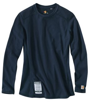 Carhartt Women's Flame Resistant Force Navy Long Sleeve Top, Navy, hi-res